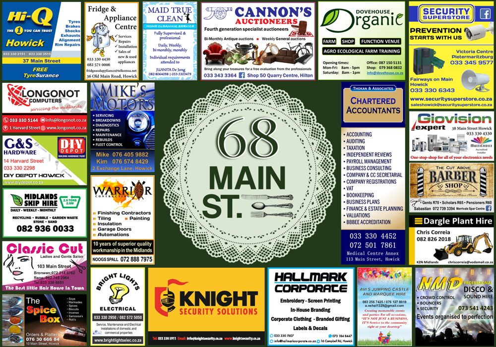 68 On Main Restaurant Placemat