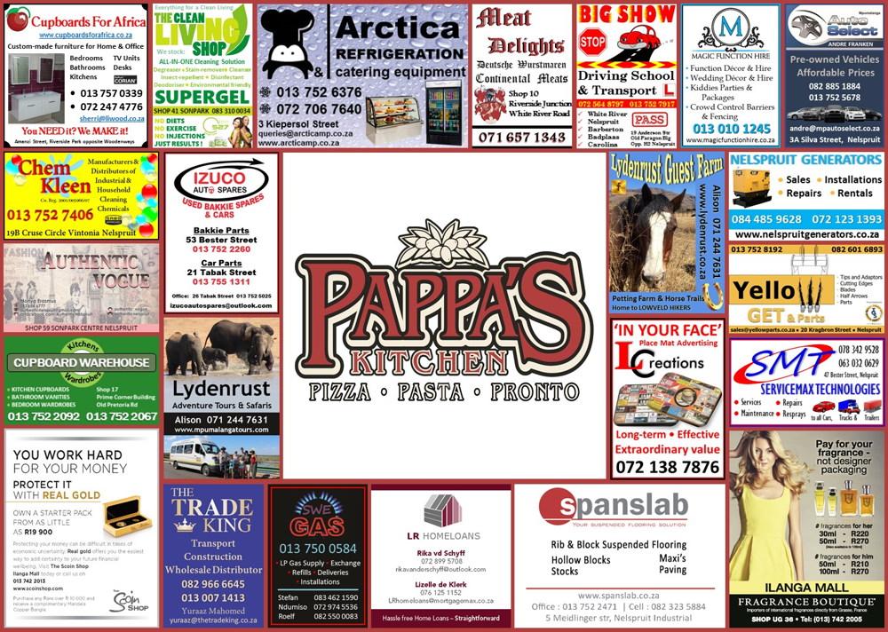 Pappas Restaurant Placemat 2