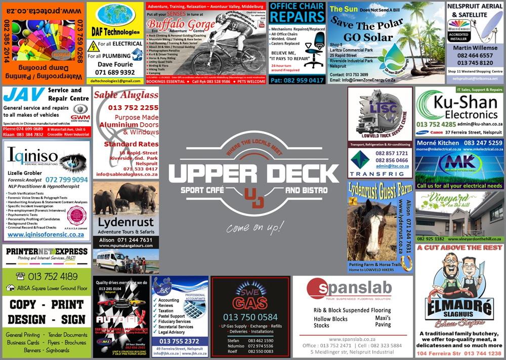Upper Deck Restaurant Placemat 2