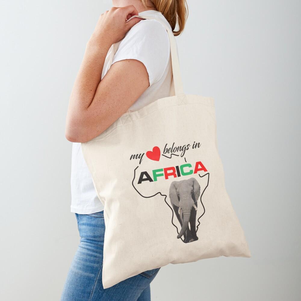 My heart belongs In Africa Elephant - tote bag