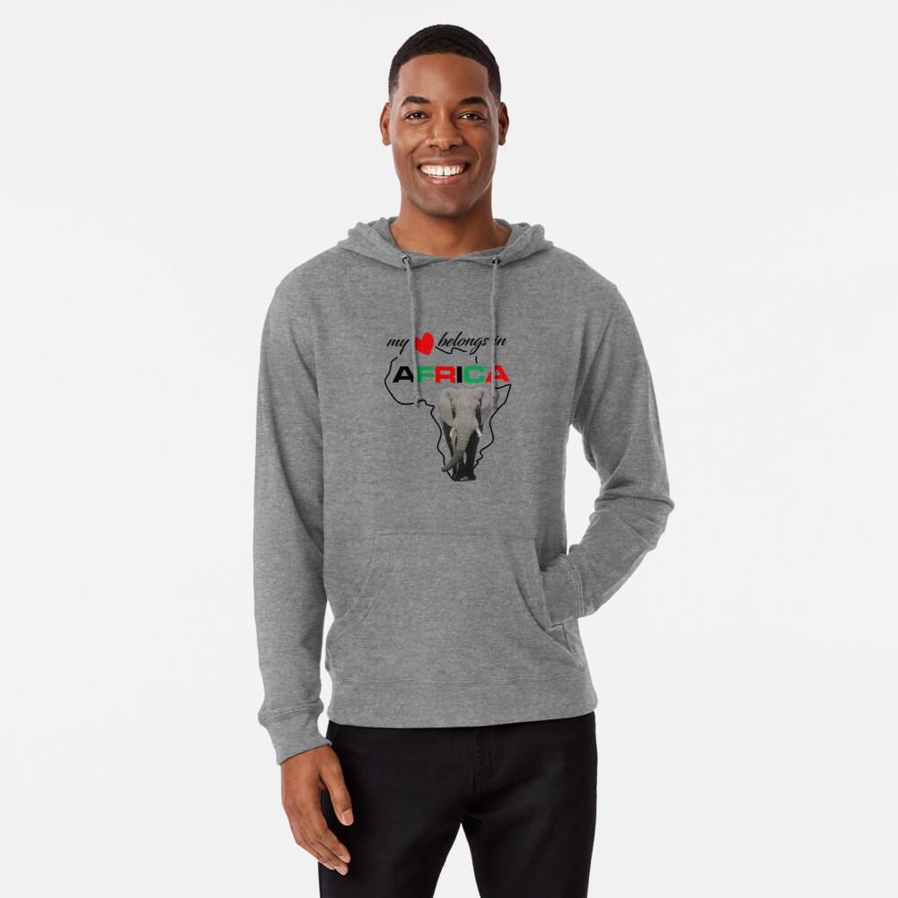 My heart belongs In Africa Elephant - lightweight hoodie