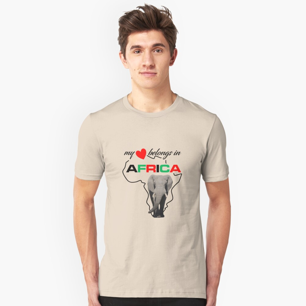 My heart belongs In Africa Elephant - slim fit t-shirt