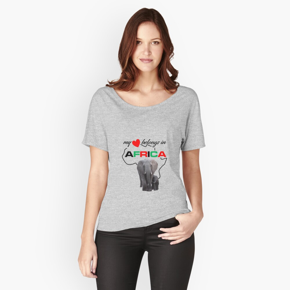 My heart belongs In Africa Elephant Mother & child relaxed fit t-shirt