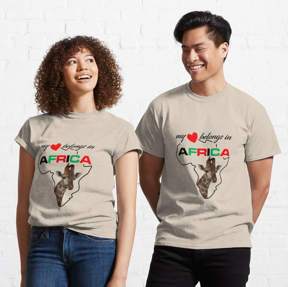 My heart belongs In Africa Giraffe - classic t-shirt