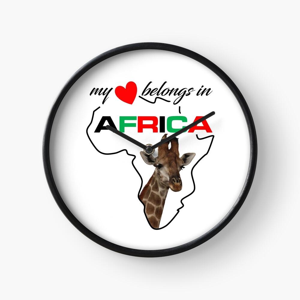 My heart belongs In Africa Giraffe - clock