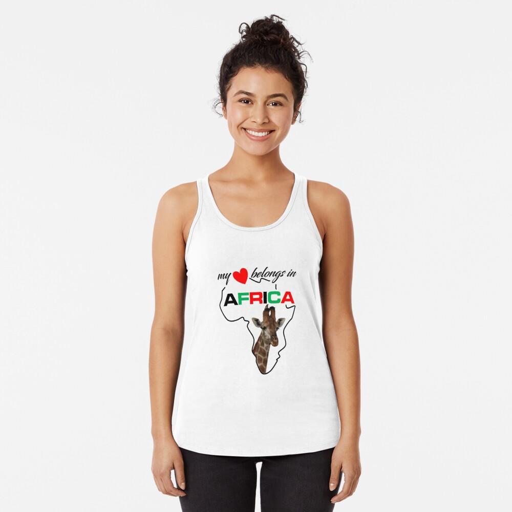 My heart belongs In Africa Giraffe - racerback tank top
