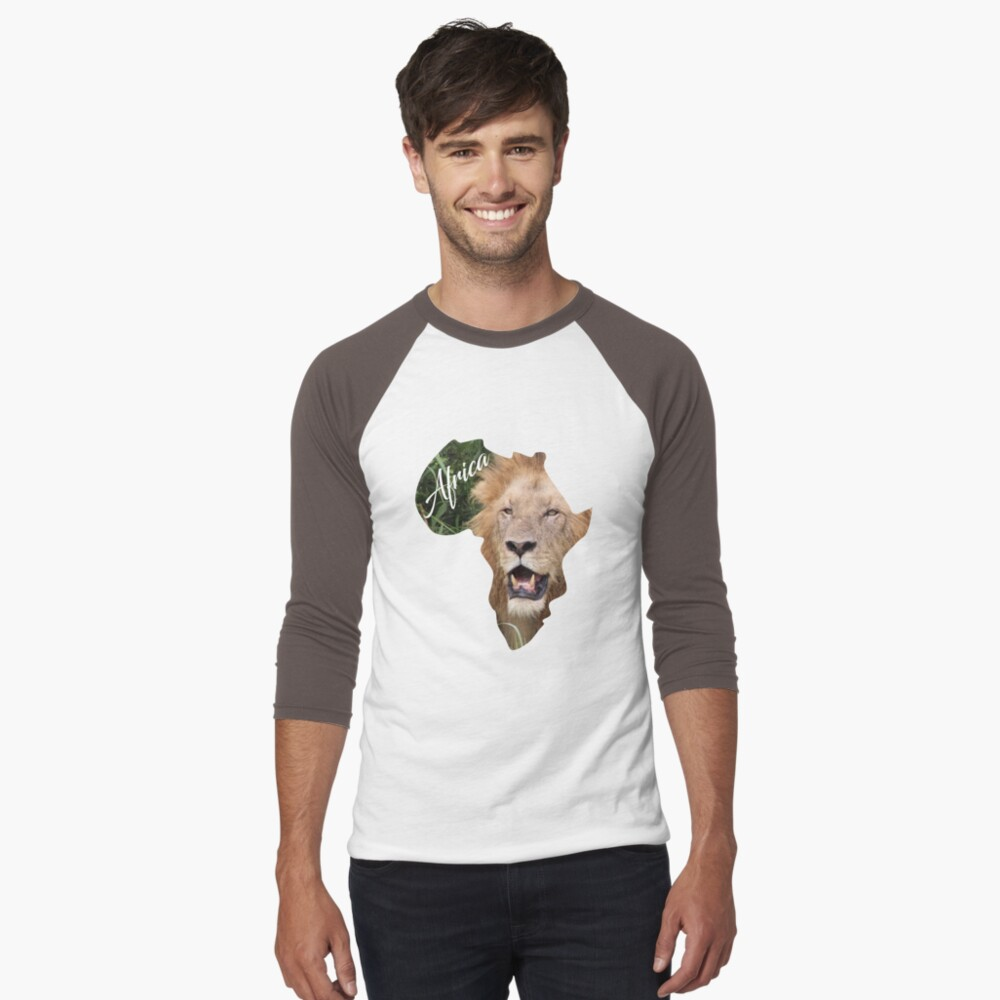 Africa with Lion fill - baseball t-shirt
