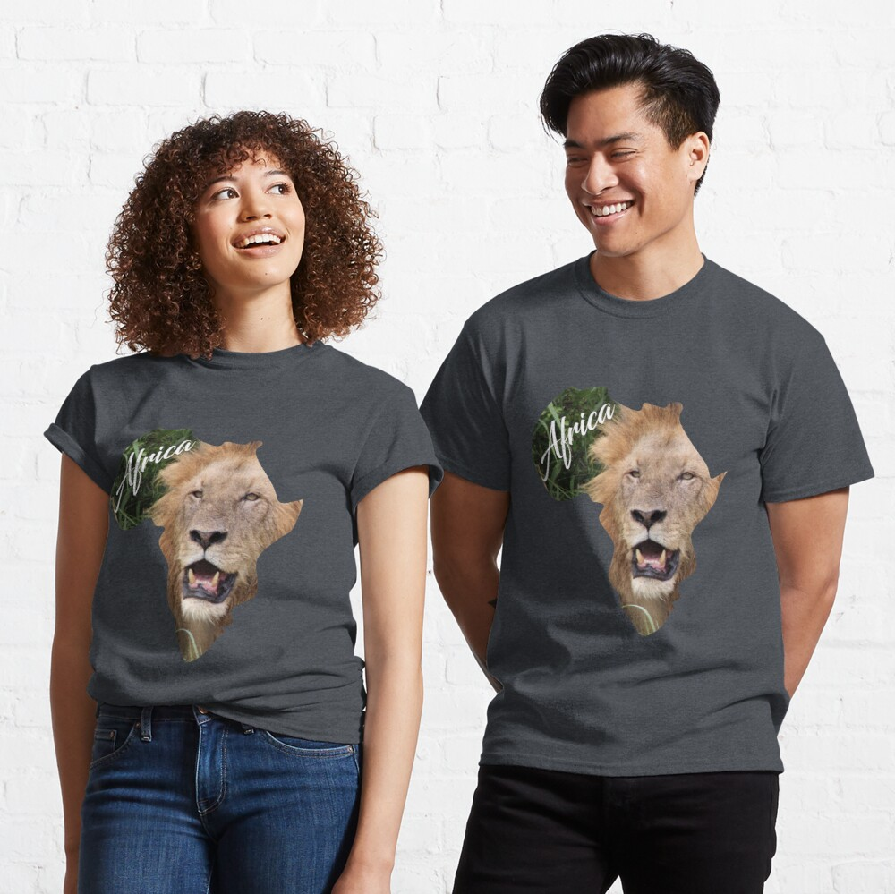 Africa with Lion fill - classic t-shirt