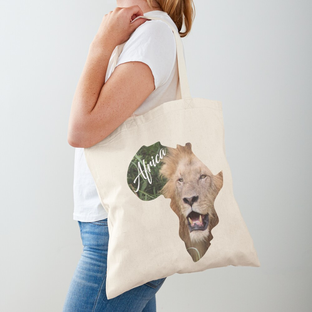Africa with Lion fill - tote bag