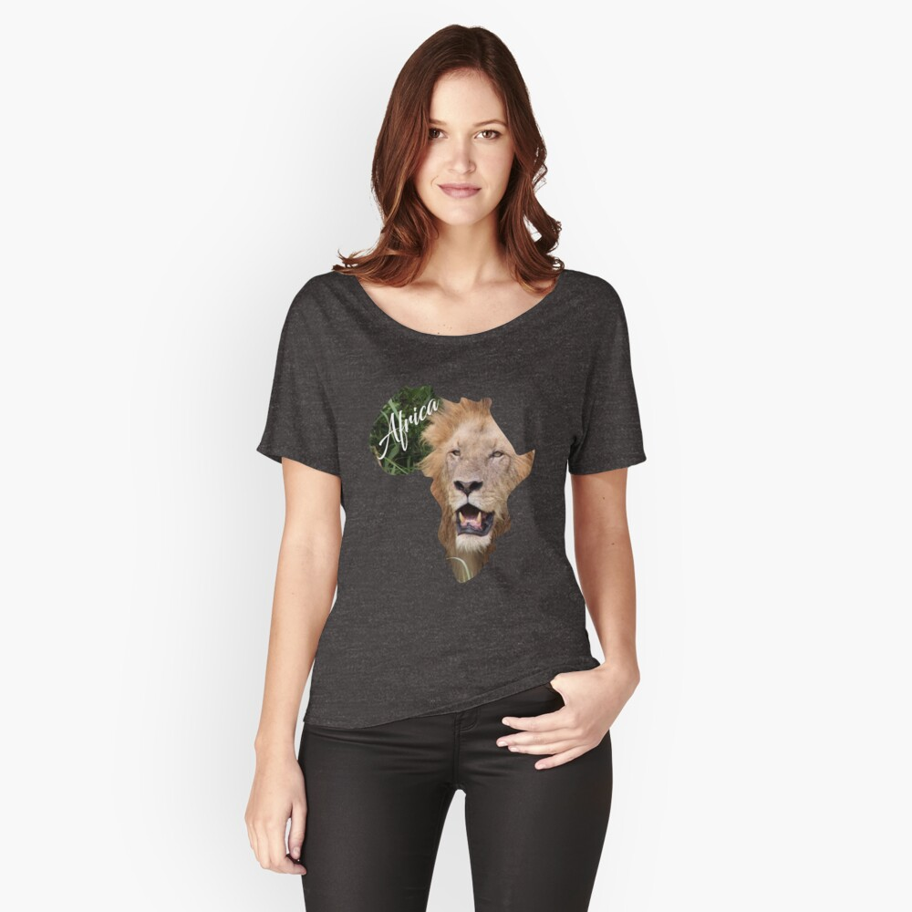 Africa with Lion fill - relaxed fit t-shirt